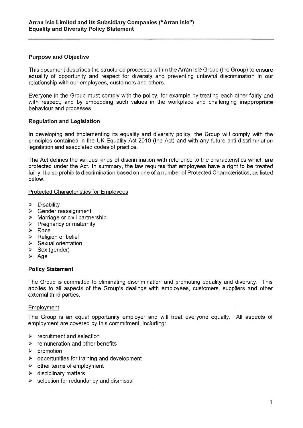 Equality and Diversity Policy Statement - January 2018 - Mila